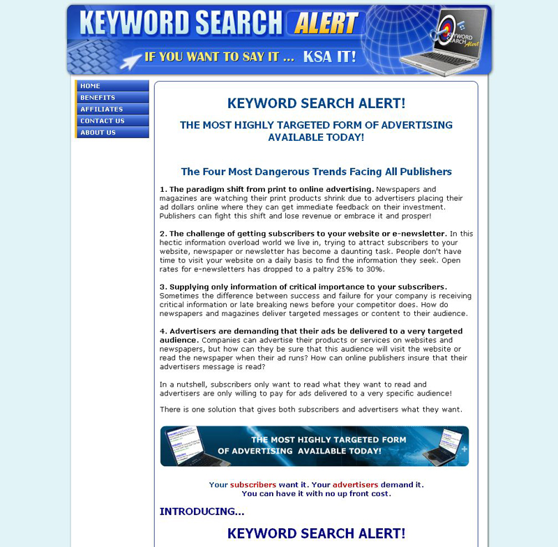 Keyword search alert KSA