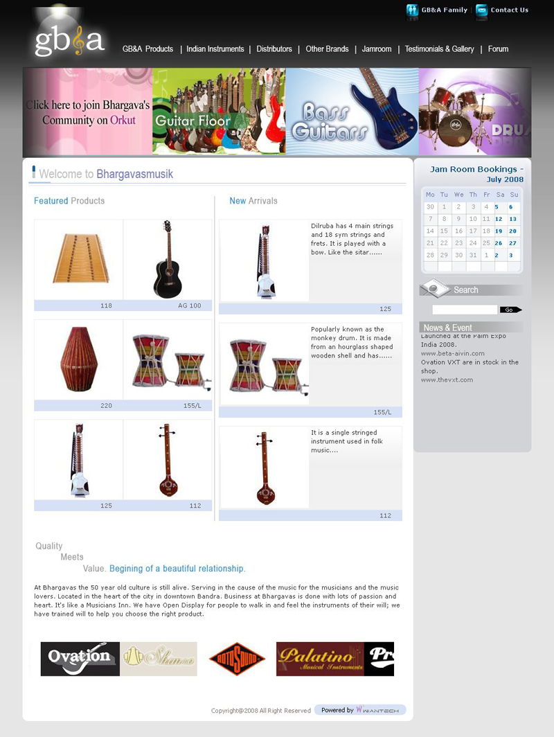 Bhargava Musik Home - Gba Products, Indian Instruments, Distributors, Other Brands, Jamroom, Testimonials Gallery, Forum