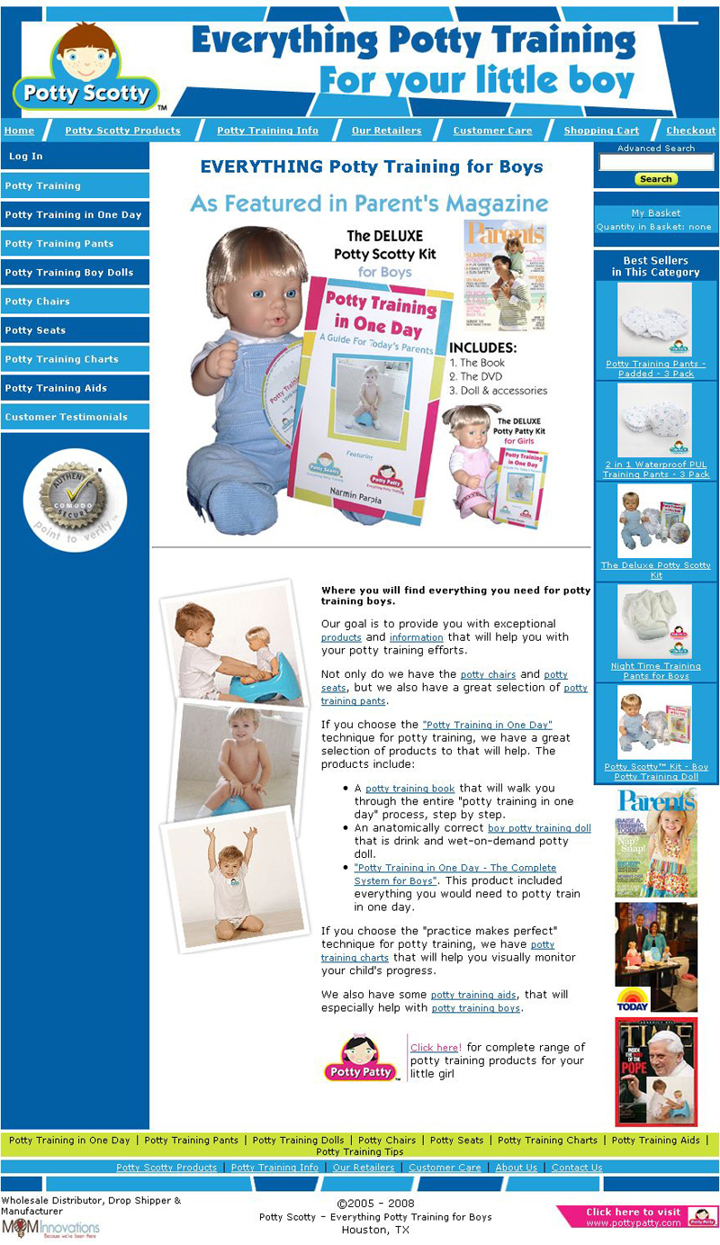 Potty Scotty - EVERYTHING Potty Training for Boys - Training Pants, Boy Dolls, Chairs, Seats, Charts  Aids